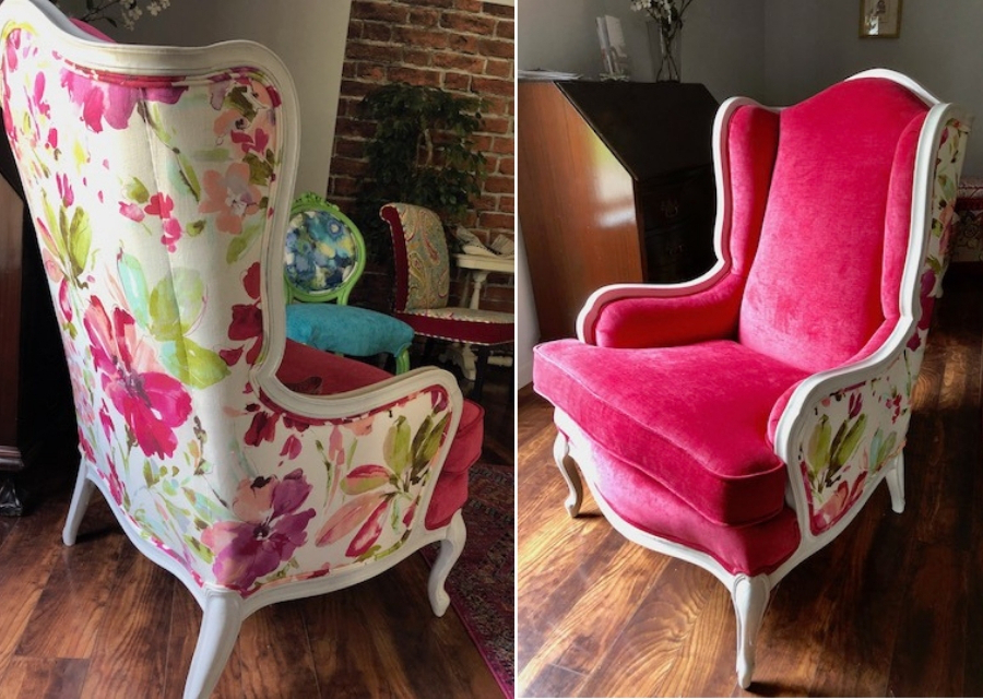 Reupholstering A Wing Back Chair With Two Fabrics – Kim's Regarding Latest Chagnon Wingback Chairs (View 27 of 30)