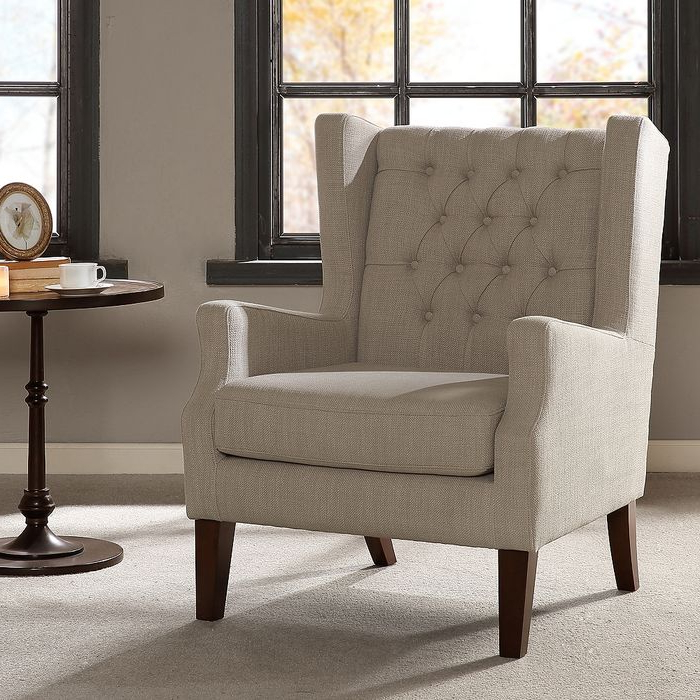 Roan Linen Wingback Button Tufted Accent Chair – Style # 82w86 Regarding Widely Used Galesville Tufted Polyester Wingback Chairs (View 24 of 30)
