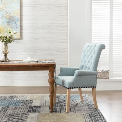 Roberge Tufted Linen Upholstered Arm Chair Upholstery Color: Blue With Best And Newest Madison Avenue Tufted Cotton Upholstered Dining Chairs (set Of 2) (View 17 of 30)