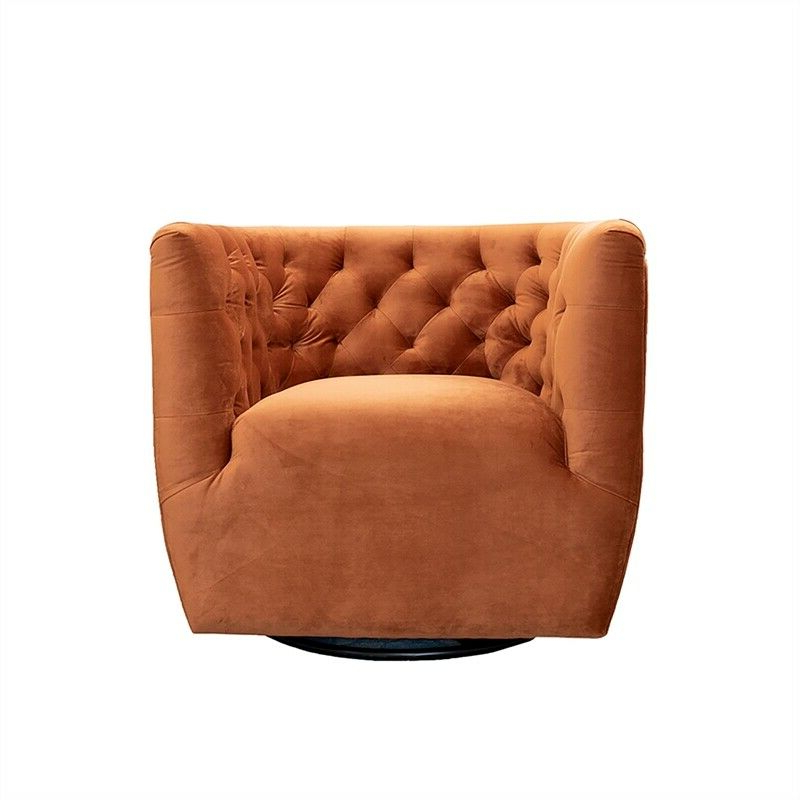 Ronda Barrel Chairs Regarding Well Known Mid Century Modern Rose Burnt Orange Velvet Swivel Chair (View 29 of 30)