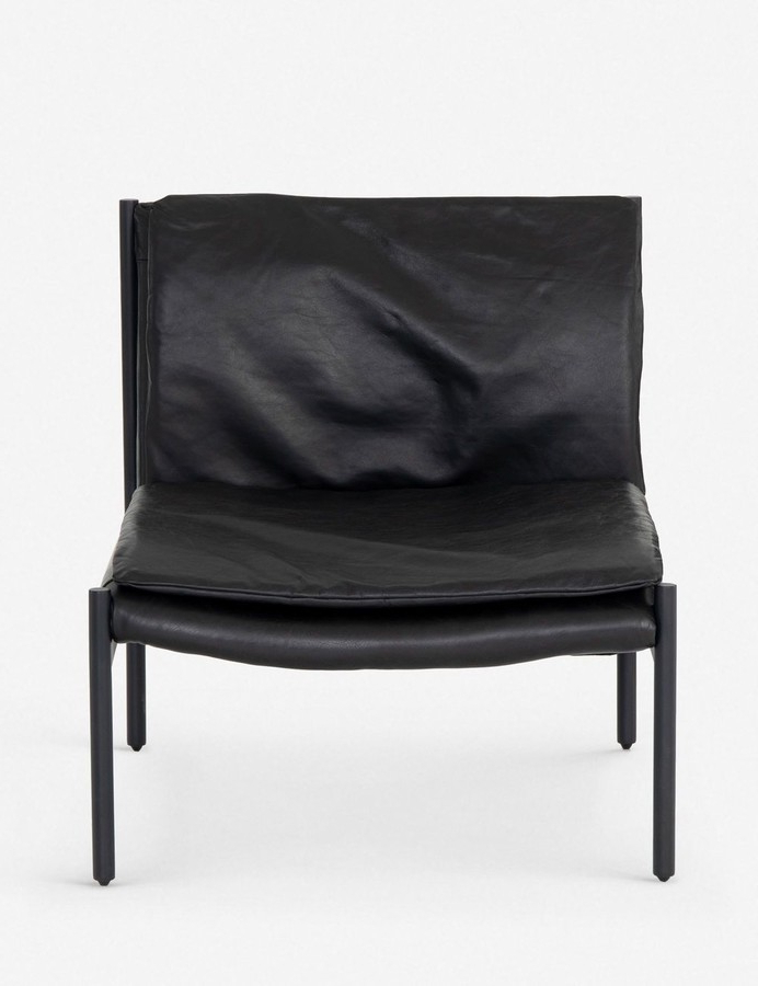 Ronella Leather Accent Chair, Aged Black Pertaining To 2019 Liston Faux Leather Barrel Chairs (View 14 of 30)