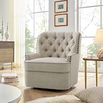 Rosevera Vineland Swivel Accent Chair, Beige For Popular Vineland Polyester Swivel Armchairs (View 8 of 30)