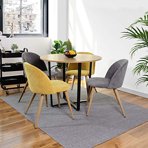 Round Dining Table, Furniturer Modern 80cm Wooden Dining Desk With Metal Legs Coffee End Table For Small Spaces Kitchen Dining Room Home Office Pertaining To Most Recently Released Harland Modern Armless Slipper Chairs (View 26 of 30)