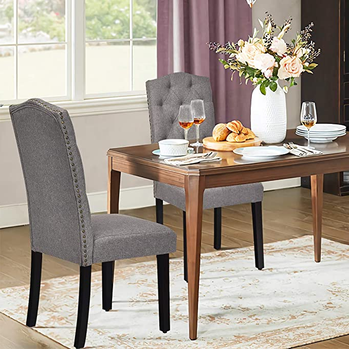 Safstar Fabric Dining Chairs, Upholstered Accent Dining Chairs With Solid Wood Legs And Tall Back, Tufted Parsons Chairs For Kitchen Dining Room (2, Intended For Well Known Aaliyah Parsons Chairs (View 28 of 30)