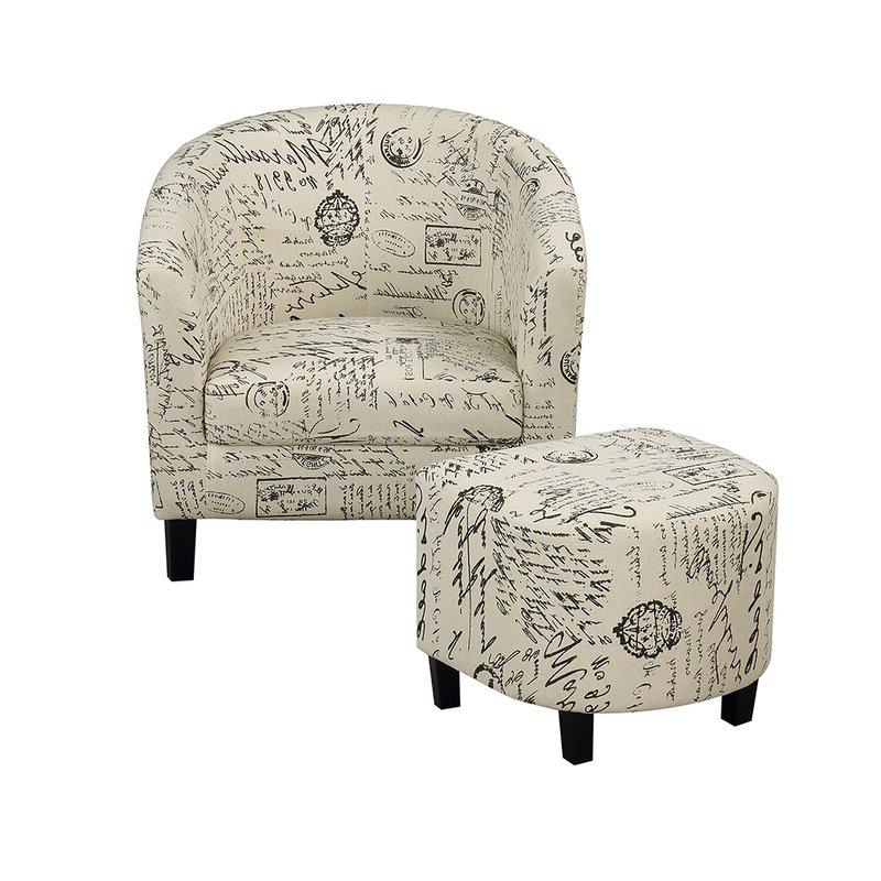 Savion Retro Living Room Barrel Chair And Ottoman Inside Current Briseno Barrel Chairs (View 9 of 30)