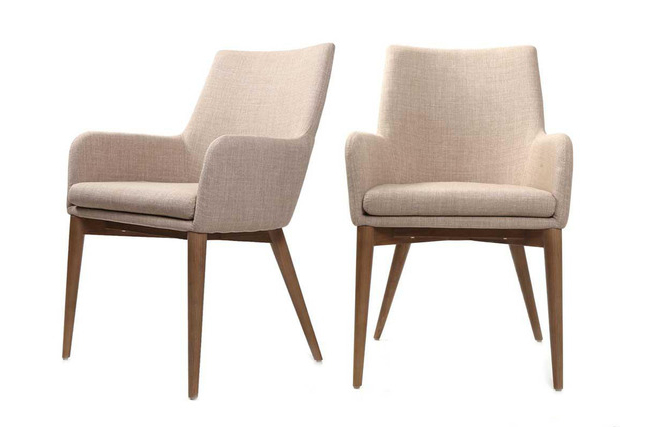 Shana Set Of 2 Beige Designer Polyester Armchairs – Miliboo With Favorite Leia Polyester Armchairs (View 25 of 30)