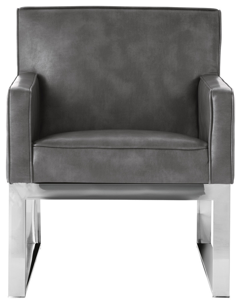 Sheldon Armchair, Gray Leather Intended For 2019 Sheldon Tufted Top Grain Leather Club Chairs (View 17 of 30)