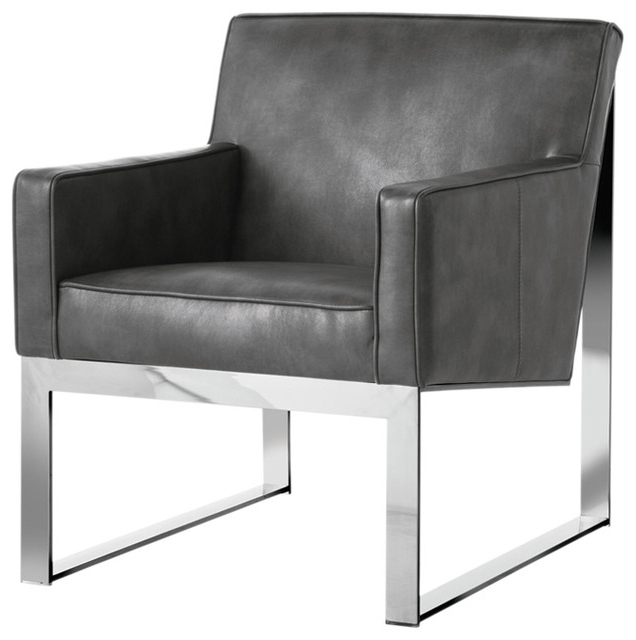 Sheldon Tufted Top Grain Leather Club Chairs For Well Known Lennox Armchair, Gray (View 25 of 30)