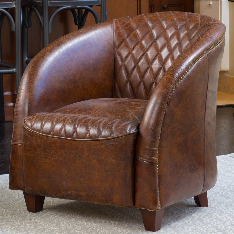 Sheldon Tufted Top Grain Leather Club Chairs Throughout Widely Used Wilmette Tufted Leather Barrel Chair (View 5 of 30)