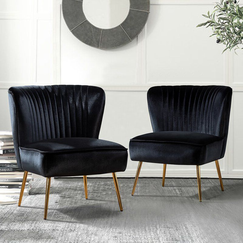 Side Chairs, Black Velvet Chair Pertaining To Erasmus Velvet Side Chairs (set Of 2) (View 6 of 30)