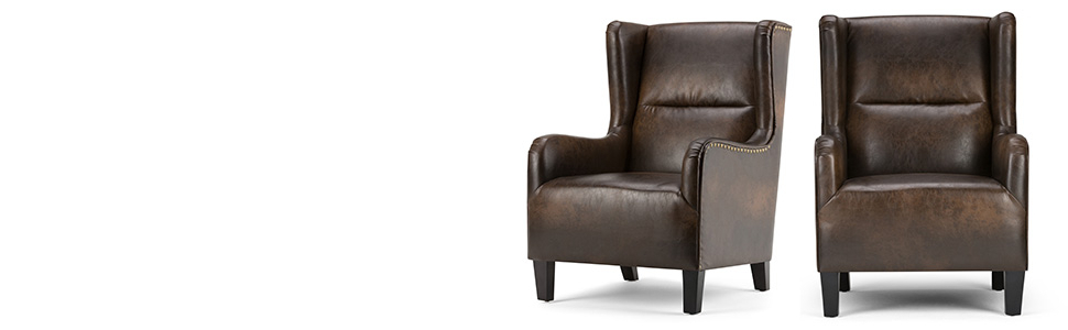 Simplihome Taylor 28 Inch Wide Traditional Wingback Armchair In Distressed Brown Bonded Leather For Recent Marisa Faux Leather Wingback Chairs (View 8 of 30)