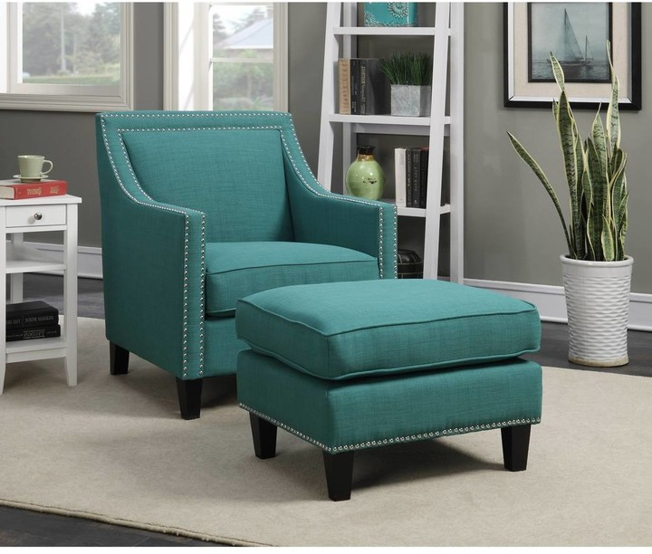 Starks Tufted Fabric Chesterfield Chair And Ottoman Sets For 2020 Copper Grove Thorsen Contemporary Teal Armchair & Ottoman Set (View 9 of 30)