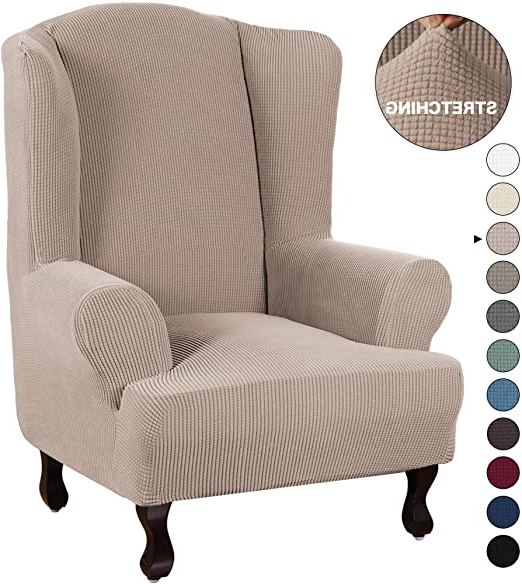 Stretch Armchair Slipcover Wingback Wing Back Chair Cover With Regard To Famous Busti Wingback Chairs (View 23 of 30)