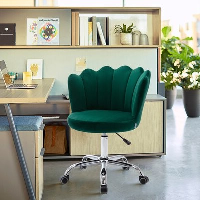 Swivel Shell Chair For Living Room/bed Room, Modern Leisure Office Chair Blue Upholstery Color: Green Regarding 2019 Vineland Polyester Swivel Armchairs (View 19 of 30)