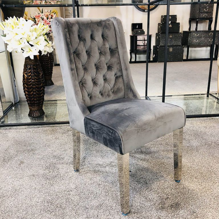 Trendy Aime Upholstered Parsons Chairs In Beige Throughout Felicity Grey Velvet Dining Chair With Chrome Legs And Ring (View 24 of 30)