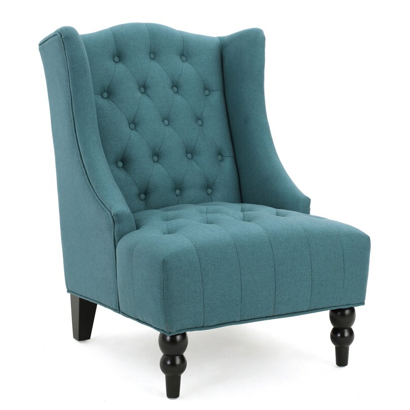 "Trendy Allis Tufted Polyester Blend Wingback Chairs Regarding Contreras 21"" Side Chair (View 11 of 30)"