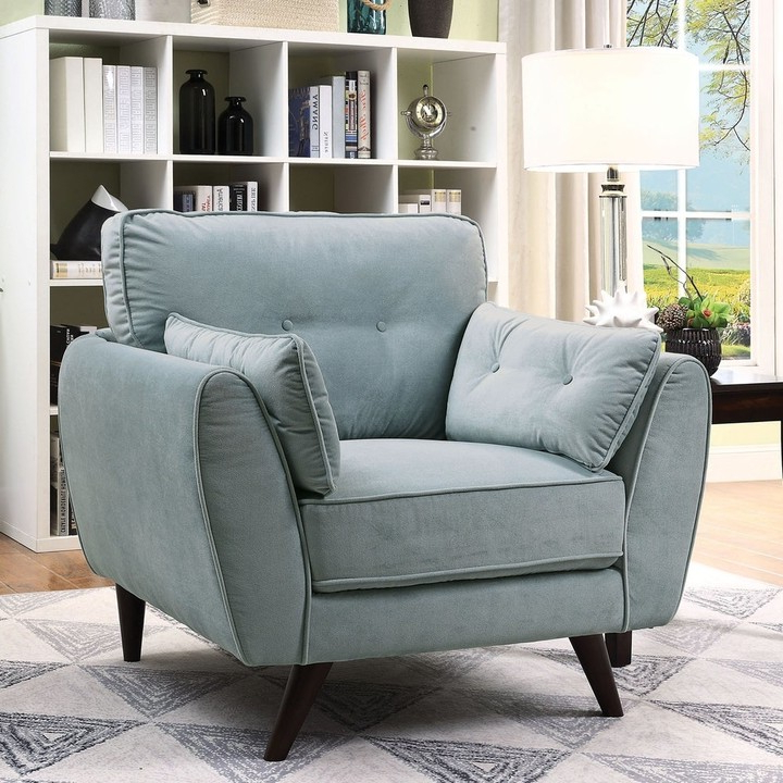 Trendy Carson Carrington Svelgen Light Teal Accent Chair Within Maubara Tufted Wingback Chairs (View 21 of 30)
