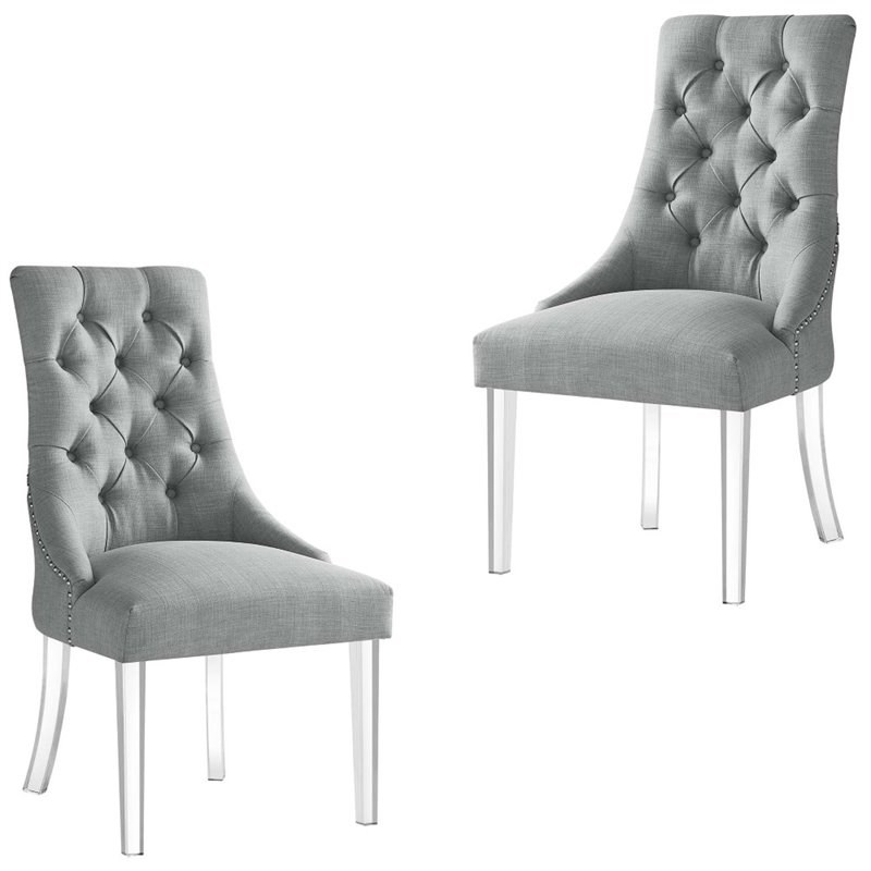 Trendy Colton Linen Fabric Dining Side Chair With Acrylic Legs With Regard To Liston Faux Leather Barrel Chairs (View 17 of 30)