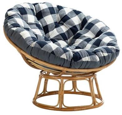 "Trendy Denver 45"" W Cotton Papasan Chair Fabric: Blue, Leg Color: Natural With Rosati Mongolian Fur Papasan Chairs (View 8 of 30)"