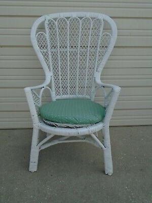 Trendy Easterling Velvet Slipper Chairs Inside Vintage Natural Wicker Peacock Side Chair Shabby Chic (View 20 of 30)