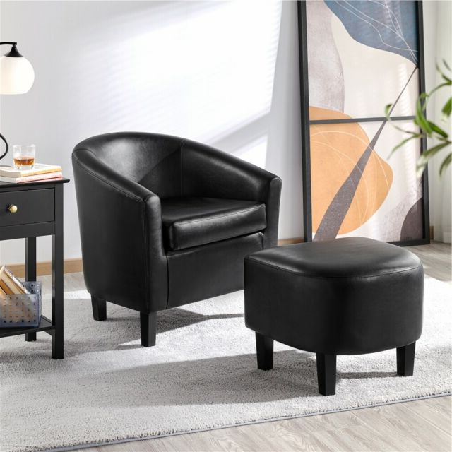 Trendy Faux Leather Barrel Chair And Ottoman Sets Pertaining To Faux Leather Club Chair And Ottoman Set Armchair With Ottoman For Living Room (View 26 of 30)