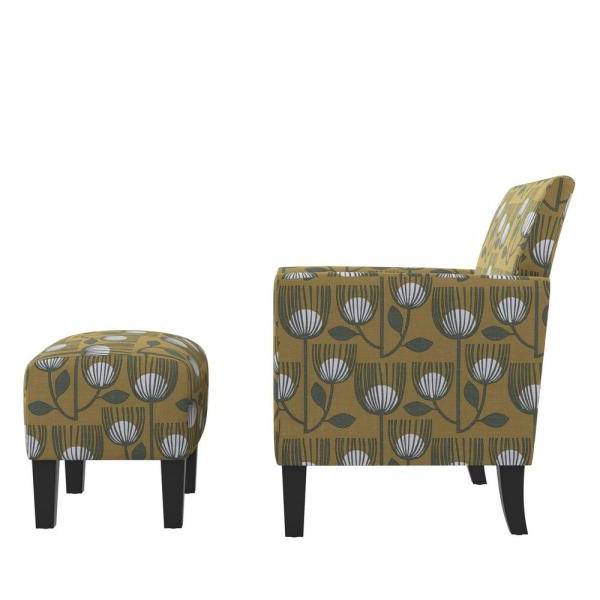 Trendy Handy Living Mimi Rose Half Round Gold Modern Tulip Print Intended For Modern Armchairs And Ottoman (View 22 of 30)