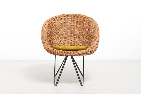 Trendy Mid Century Dutch Basket Lounge Chair With Metal Legsteun Velthuizen For Urotan, 1950s Inside Lounge Chairs With Metal Leg (View 8 of 30)