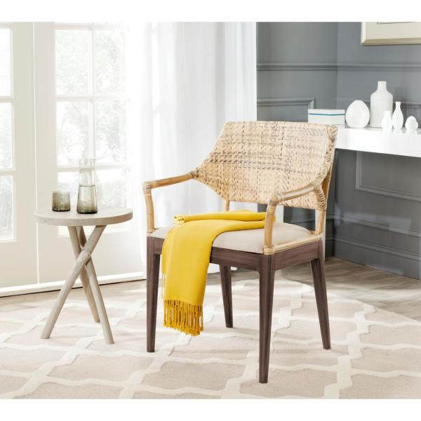 Trendy Safavieh Carlo Honey Polyester Arm Chair Sea4002a – The Home With Regard To Leia Polyester Armchairs (View 21 of 30)