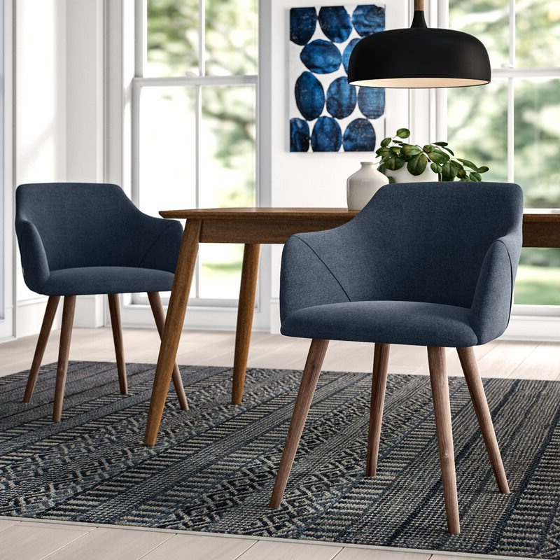 Upper Square™ Brie Solid Wood Upholstered Dining Chair For Well Liked Carlton Wood Leg Upholstered Dining Chairs (View 21 of 30)