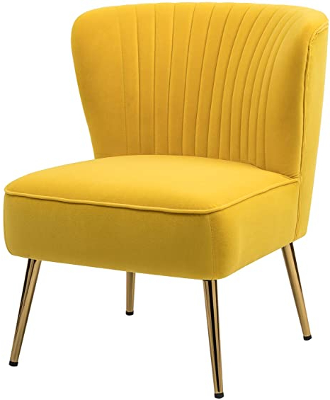 Velvet Fabric Accent Chair Modern Upholstered Armless Side Chair For Living Room Bedroom Vanity With Wingback Gold Legs/yellow Inside Trendy Erasmus Velvet Side Chairs (set Of 2) (View 15 of 30)