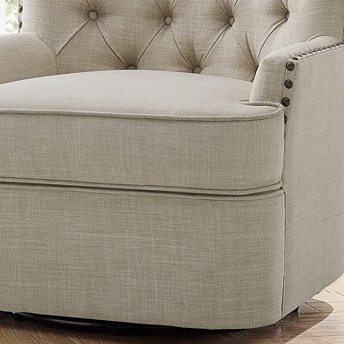 Vineland Polyester Swivel Armchairs Within 2020 Rosevera Vineland Swivel Accent Chair, Beige (View 15 of 30)