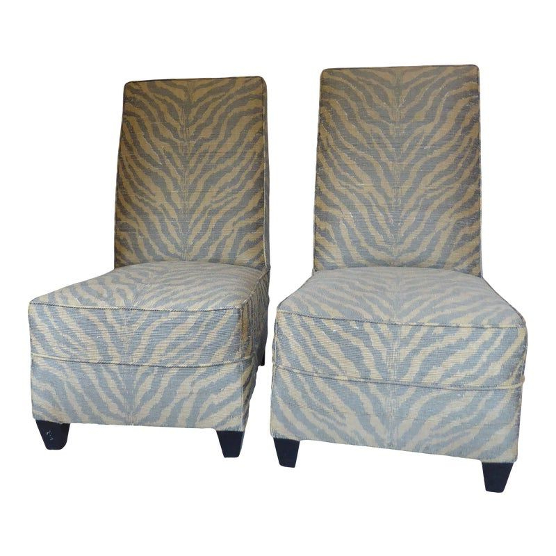 Vintage Modern Zebra Stripe Upholstered Slipper Chairs – A With Best And Newest Daleyza Slipper Chairs (View 7 of 30)