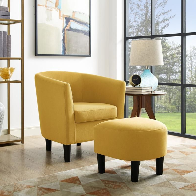 Well Known Accent Chair With Curved Back Ottoman Club Seat Armchair Throughout Chaithra Barrel Chair And Ottoman Sets (View 9 of 30)
