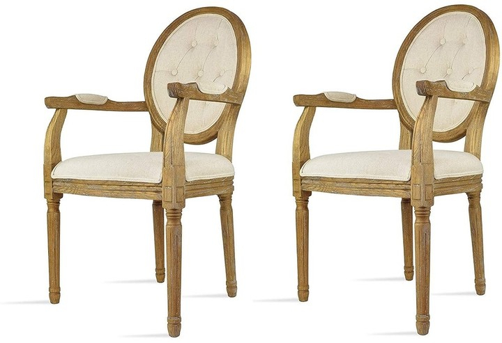 Well Known Alwillie Tufted Back Barrel Chairs For Overstock 2xhome Set Of 2 Cream Color Upholstered Button Tufted Back Fabric Dining Modern Arm Chair With Padded Seat Solid Wood Legs (View 23 of 30)