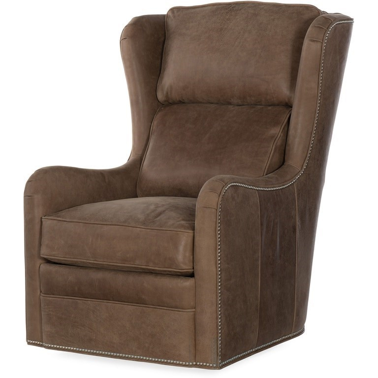 Well Known Bradington Young Farrah Casual Leather Upholstered Swivel In Gallin Wingback Chairs (Gallery 18 of 30)