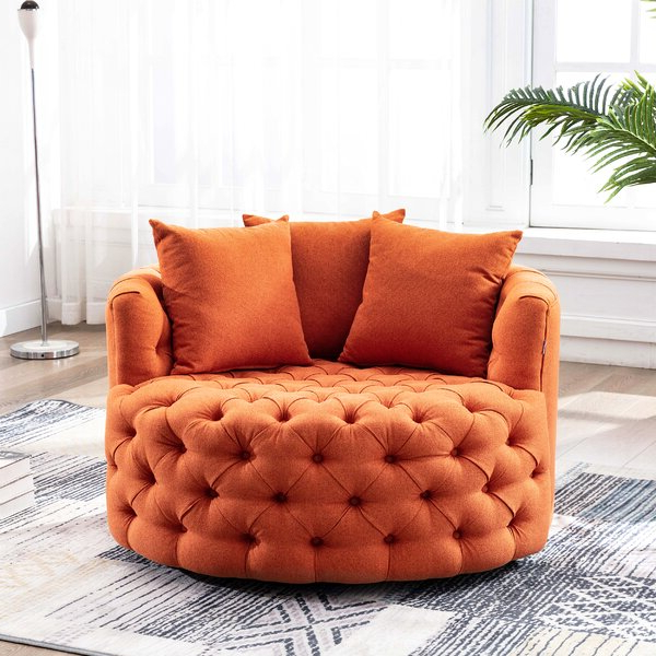 Well Known Burnt Orange Barrel Chair Within Gilad Faux Leather Barrel Chairs (View 12 of 30)