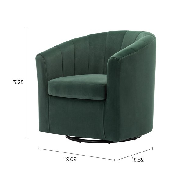 Well Known Claudel Polyester Blend Barrel Chairs Intended For Barrentine Swivel Barrel Chair (View 6 of 30)
