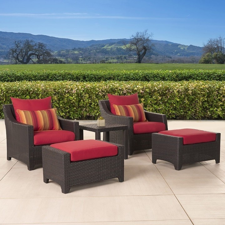 Well Known Deco Club Chair And Ottoman 5 Piece Set With Sunset Red Cushions With Regard To Riverside Drive Barrel Chair And Ottoman Sets (View 19 of 30)