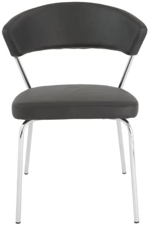 Well Known Draco Armchairs With Eurø Style Draco Soft Leatherette Side Chair, Black With Chrome, Set Of (View 28 of 30)