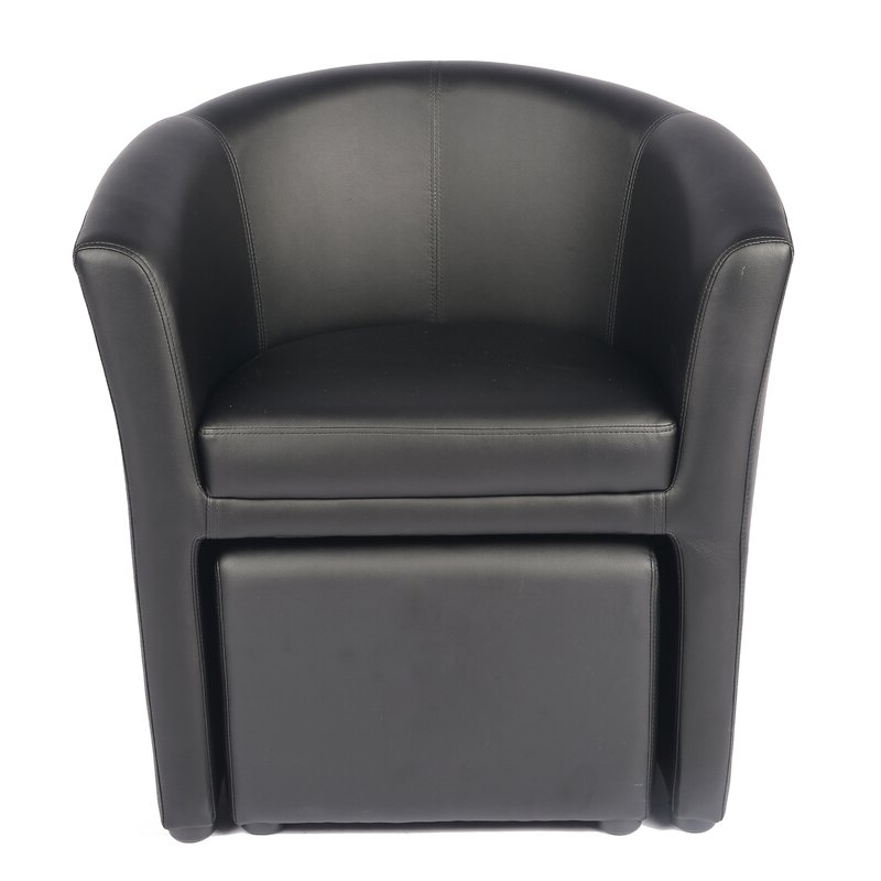 Well Known Faux Leather Barrel Chair And Ottoman Sets Inside Babumba (View 13 of 30)