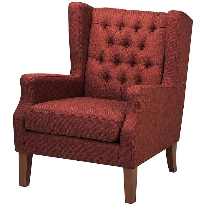 Well Known Galesville Tufted Polyester Wingback Chairs Throughout Maxwell Lillian Tufted Russet Red Armchair – Style # 7d (View 18 of 30)