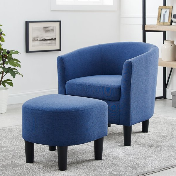 Featured Photo of Harmon Cloud Barrel Chairs And Ottoman