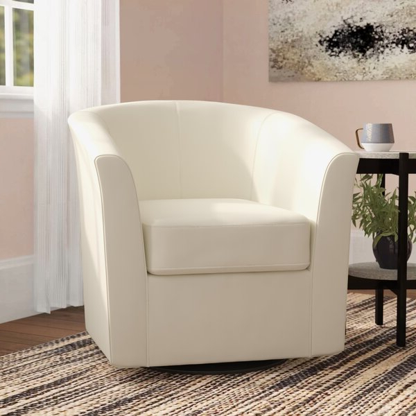 Well Known Ivory Leather Accent Chair With Regard To Ansar Faux Leather Barrel Chairs (View 15 of 30)