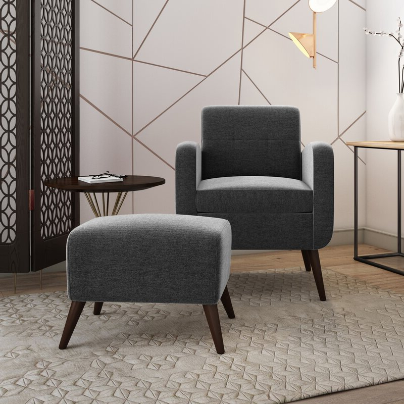 "Well Known Joetta 20"" Armchair And Ottoman With Modern Armchairs And Ottoman (View 12 of 30)"