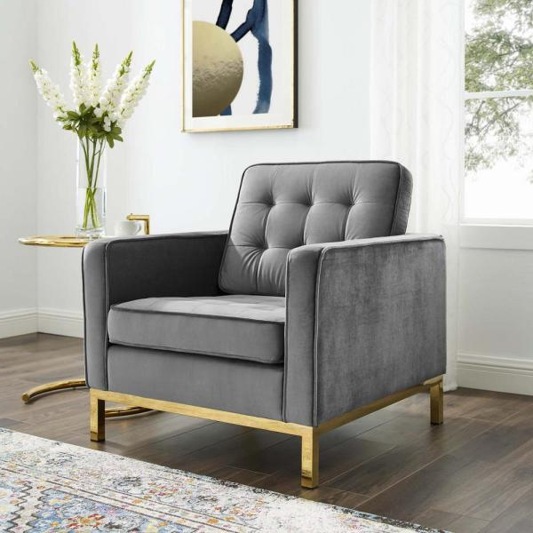 Well Known Live It Cozy Armchairs Within Modway Loft Gold Gray Stainless Steel Performance Velvet (View 19 of 30)