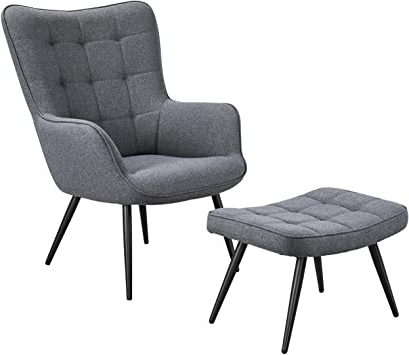 Well Known Modern Armchairs And Ottoman Intended For Yaheetech Lounge Chair & Ottoman Modern Chaise Lounge Armchair With Footstool Lounge Reading Chair With Footrest Linen Grey (View 16 of 30)