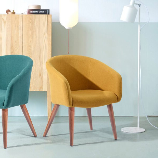 Well Known Narrow Arm Chair Yellow With Regard To Biggerstaff Polyester Blend Armchairs (View 14 of 30)