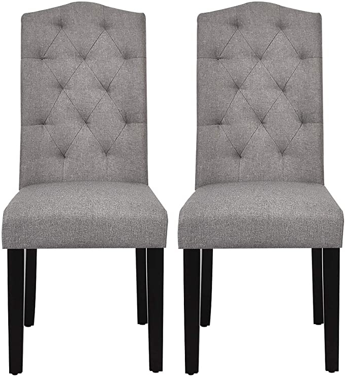 Well Known Safstar Fabric Dining Chairs, Upholstered Accent Dining Chairs With Solid Wood Legs And Tall Back, Tufted Parsons Chairs For Kitchen Dining Room (2, Intended For Aaliyah Parsons Chairs (View 11 of 30)