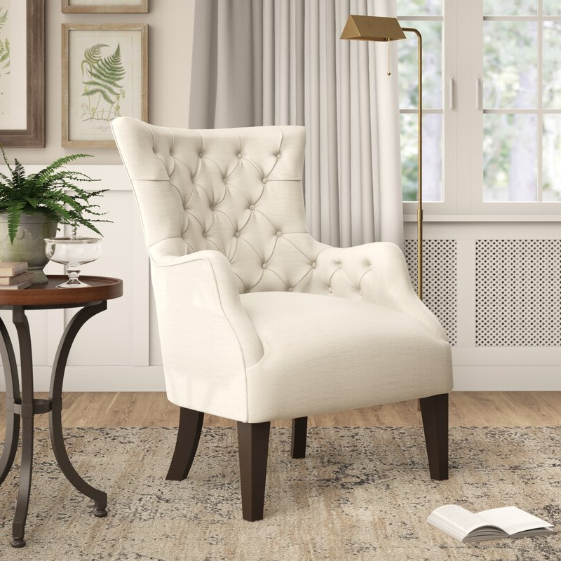 Well Known Steelton Button Wingback Chair With Allis Tufted Polyester Blend Wingback Chairs (View 14 of 30)