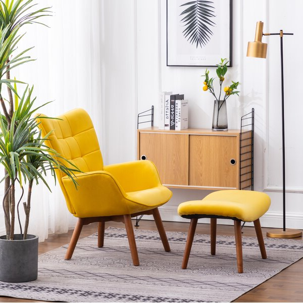 Well Liked Alexander Cotton Blend Armchairs And Ottoman With Accent Chairs With Foot Stool (View 17 of 30)